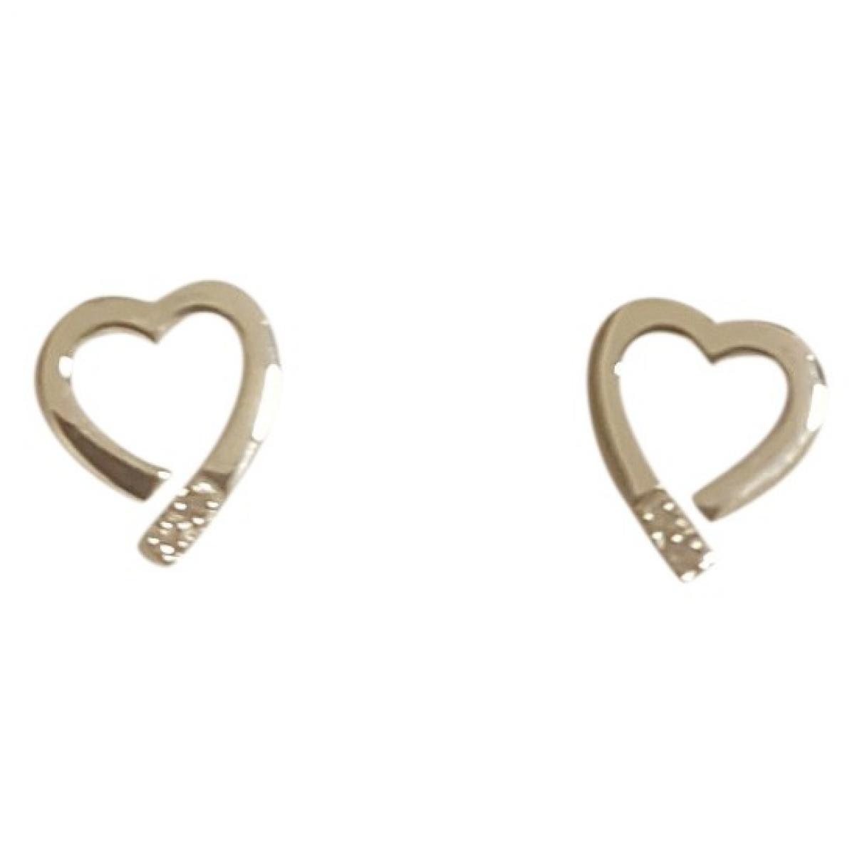 - Boucles doreilles Motifs Coeurs pour femme en or blanc - blanc