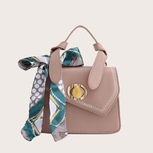 Twilly Scarf Bow Decor Satchel Bag