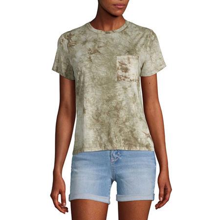 Arizona Juniors-Womens Crew Neck Short Sleeve T-Shirt, 3x-large , Green
