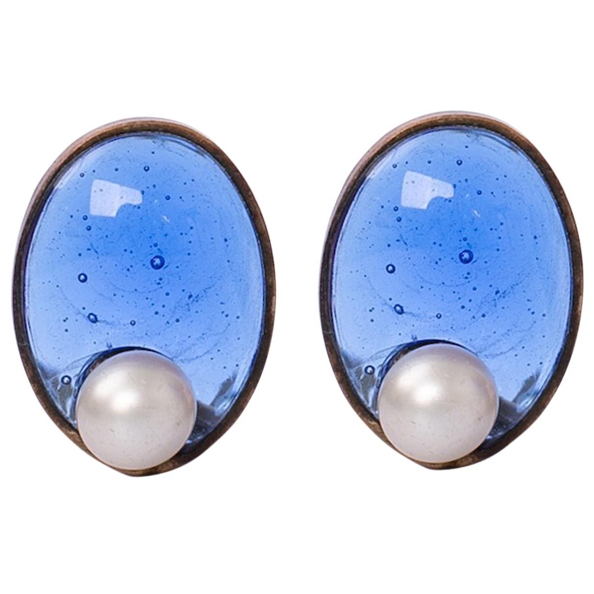 Chanel - Boucles doreilles   pour femme en verre - bleu