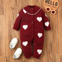 Pullover Jumpsuit mit Herzen Muster und Knopfen vorn