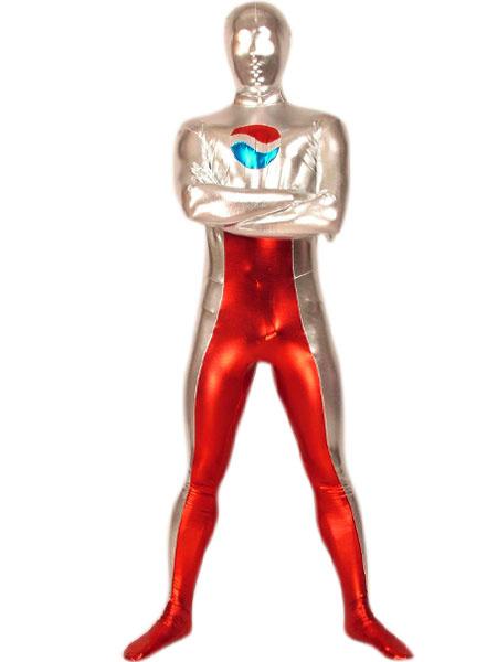 Milanoo Disfraz Halloween Plateado Rojo Metalico Brillante Pepsi Zentai Disfraz Cosplay Halloween