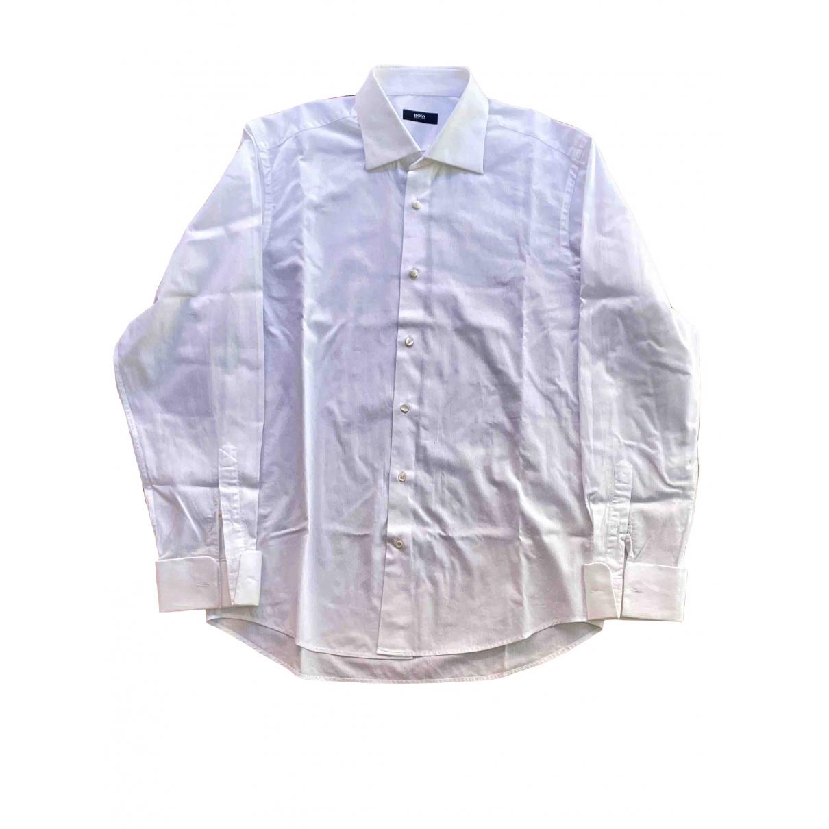 Boss \N White Cotton Shirts for Men 41 EU (tour de cou / collar)