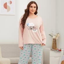 Plus Cartoon Graphic Pajama Set
