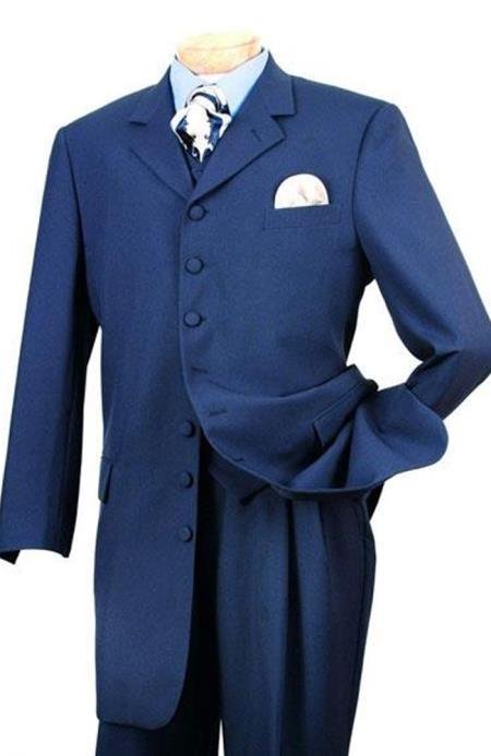 Alberto Nardoni Indigo Light Navy 5 Button Zoot Fashion Vested Suit