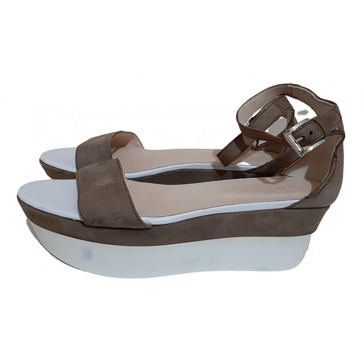 Hogan - Sandales   pour femme en suede - marron