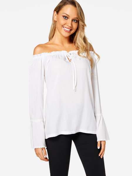 Yoins White Self-tie Front Off Shoulder Flared Sleeves Blouse