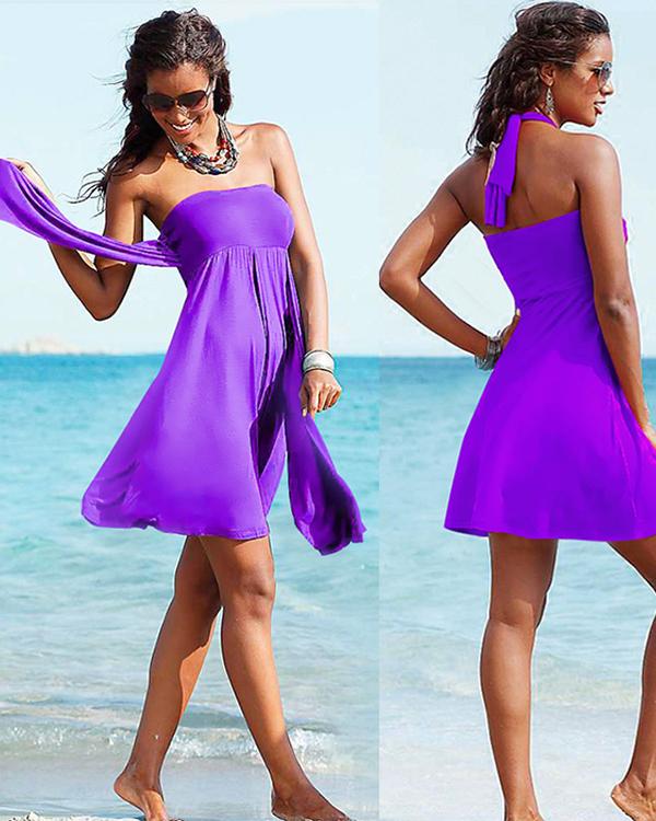 Solid Color Beach Dress One-piece Simple Swimwear