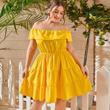 Plus Foldover Ruffle Hem Bardot Dress