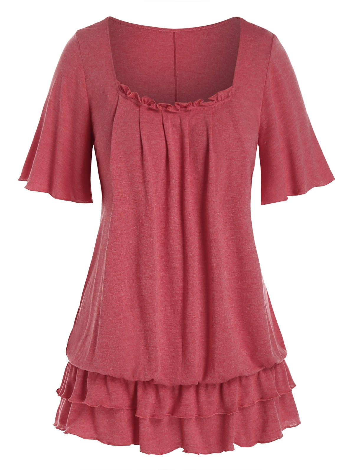 Plus Size Frilled Layered Flounce Flutter Sleeve Blouson Tee