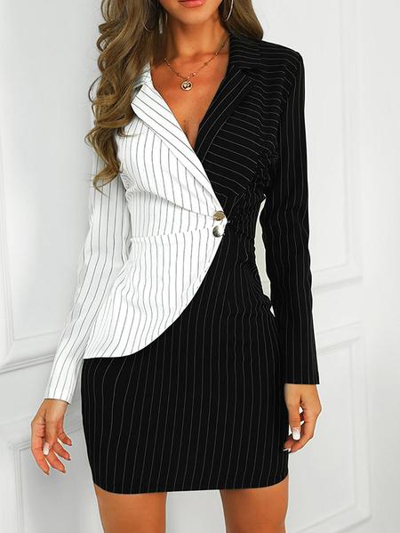 Yoins Color Block Button Design Stripe Notch Collar Dress