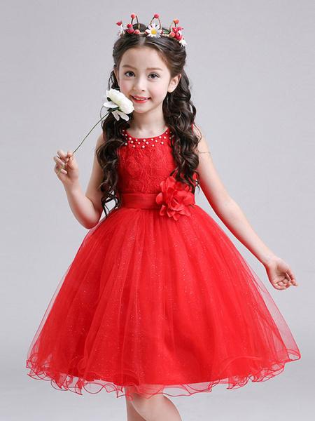 Milanoo Vestidos de niña de las flores Cuello joya Sin mangas Vestidos de fiesta bordados para niños
