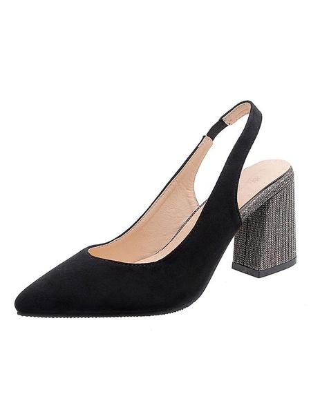 Milanoo Bombas Slingback con corte en V para mujer Tacones altos Punta puntiaguda Tacon grueso Zapatos de talla grande