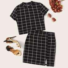 Grid Crop Top and Split Hem Skirt Set