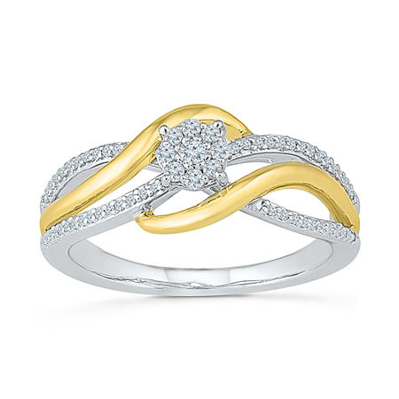 Promise My Love Womens 1/5 CT. T.W. Genuine White Diamond 10K Gold Over Silver Promise Ring, 7 , No Color Family