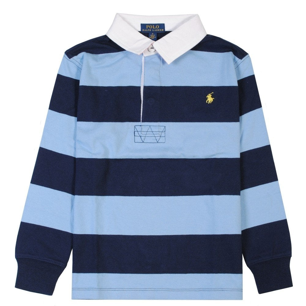 Ralph Lauren Kids Long Sleeve Polo Striped Colour: NAVY, Size: 10-12 YEARS