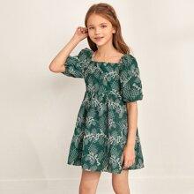 Girls Square Neck Lantern Sleeve Ditsy Floral Dress