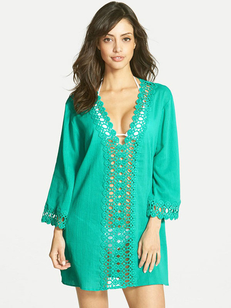 Milanoo Green Cover Ups Crochet Plunging Neckline Cut Out 3/4 Length Sleeve Women's Casual Beachwear