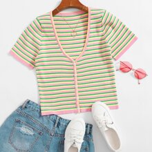 Striped Rib-knit Button Up Cardigan