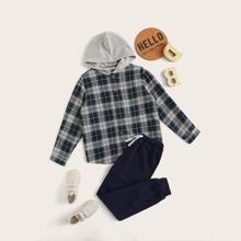 Boys Tartan Print Hooded Shirt and Tied Sweatpants Set