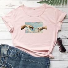 T-Shirt mit rundem Kragen und Figur Grafik