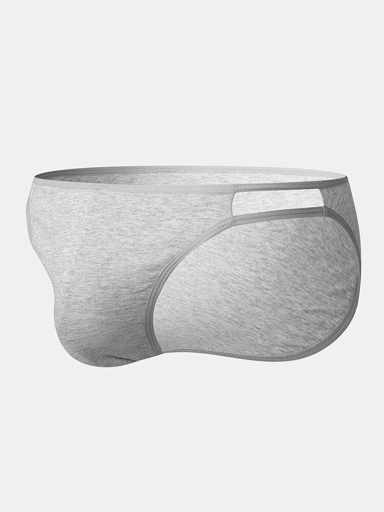 Pure Color Cotton Comfortable Plus Size Underwear Side Hollow Out Briefs For Men