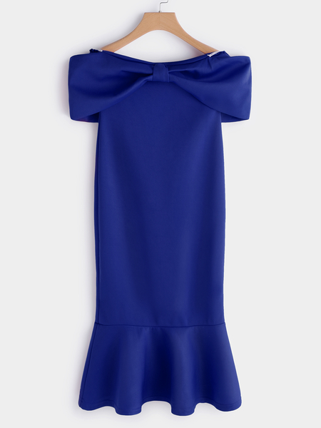 Yoins Blue Bowknot Off the Shoulder Flounced Hem Midi Dress