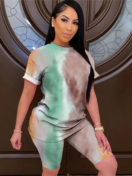 Milanoo Ropa de salon para mujer, 2 piezas, color verde claro, manga larga, poliester, cuello joya, ropa para el hogar