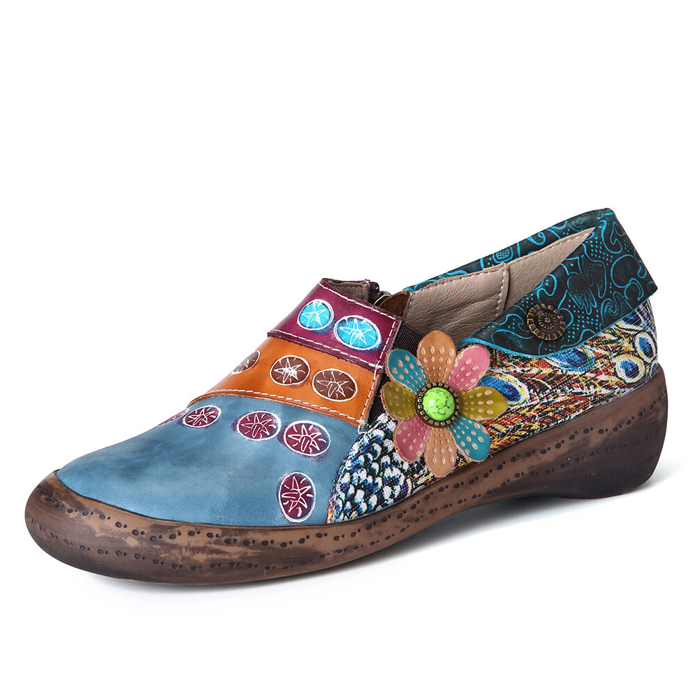 SOCOFY Retro Colors Cute Floral Splicing Fancy Pattern Zipper Slip On Leather Flat Shoes