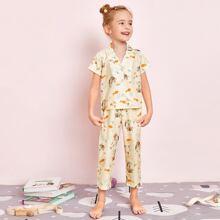 Toddler Girls Lapel Cartoon Graphic PJ Set