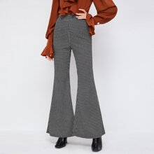 Elastic Waist Houndstooth Pattern Flare Leg Pants