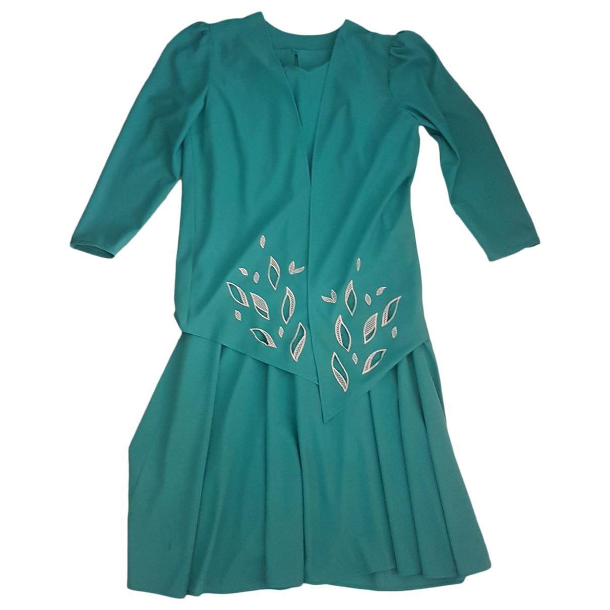 Non Signe / Unsigned Epaulettes Kleid in  Blau Viskose