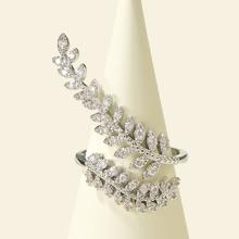 Rhinestone Decor Leaf Design Ring