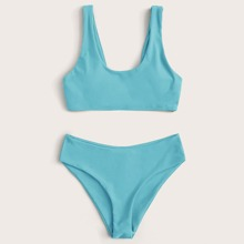 Plain Scoop Neck Bikini Swimsuit