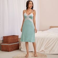 Contrast Lace Tie Back Cami Night Dress