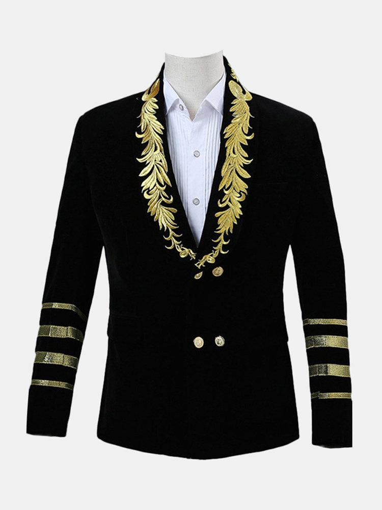 Men Single Button Gold Embroidery Gentleman Autumn Casual Slim Fit Jacket Suit Blazer