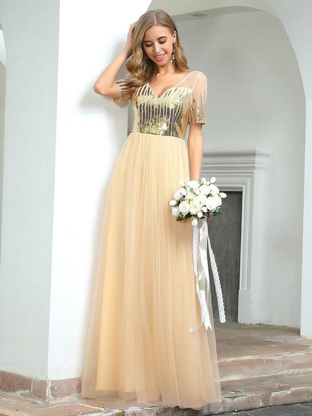 Milanoo Evening Dress A-Line V-Neck Lace Backless Floor-Length Formal Dinner Dresses