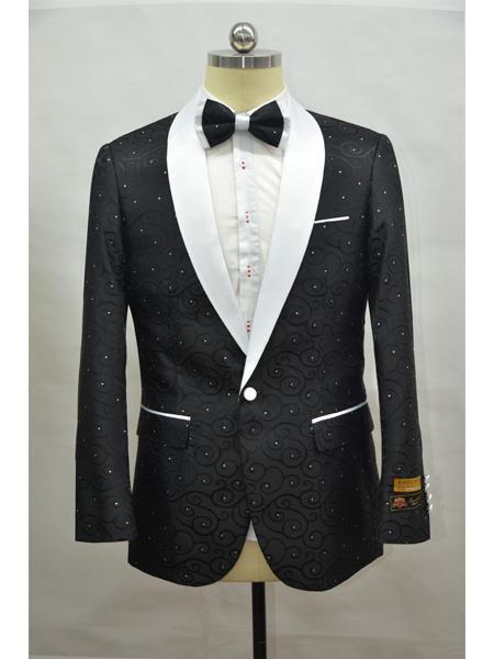 Cheap Mens Printed Flower Jacket Prom modern Tux Black ~ White