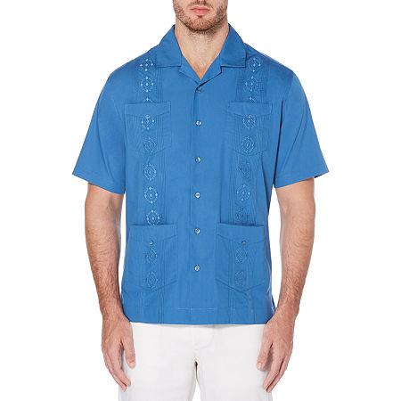 Cubavera Short Sleeve Embroidered Guayabera Button-Down Shirt, Medium , Blue