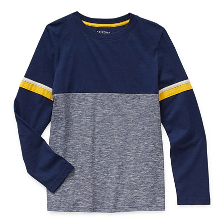 Arizona Little & Big Boys Crew Neck Long Sleeve T-Shirt, Small (8) , Blue