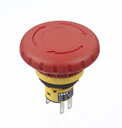 Idec Panel Mount Mushroom Head Emergency Button - 2NC, Pull or Turn, Push-to-Lock, 40mm, 16mm, Red