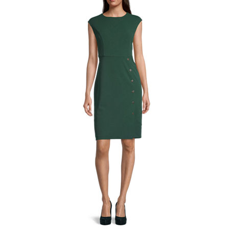 London Style Sleeveless Midi Sheath Dress, 12 , Green
