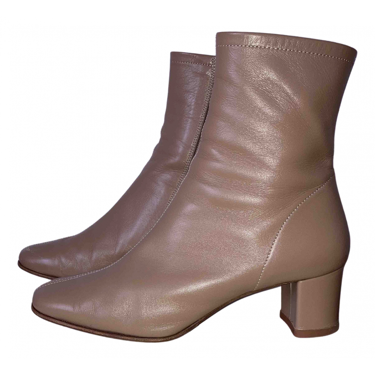 By Far N Beige Leather Ankle boots for Women 38 IT