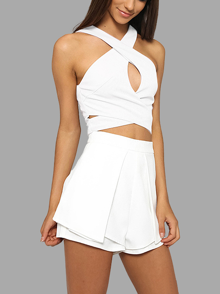 Yoins Sleeveless Cross-chest Top and High Waist Shorts Co-ord