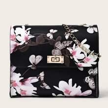 Floral Pattern Chain Crossbody Bag