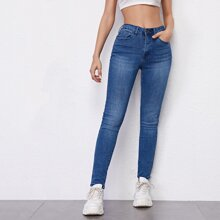 Skinny Jeans mit hoher Taille und schraegen Taschen