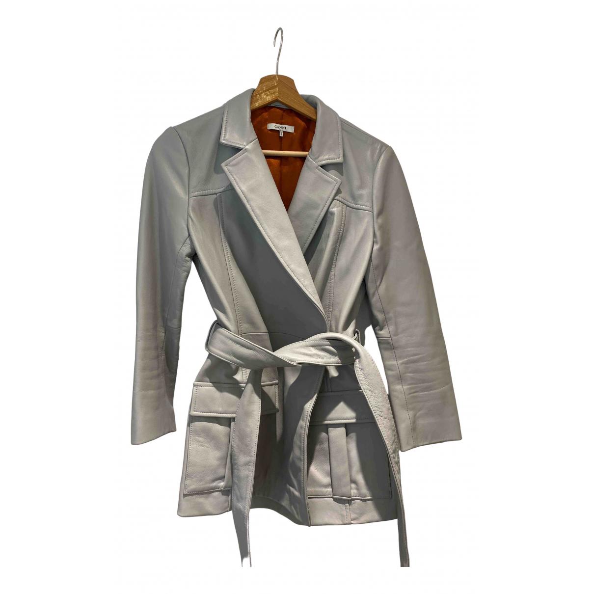 Ganni - Blouson   pour femme en cuir - gris