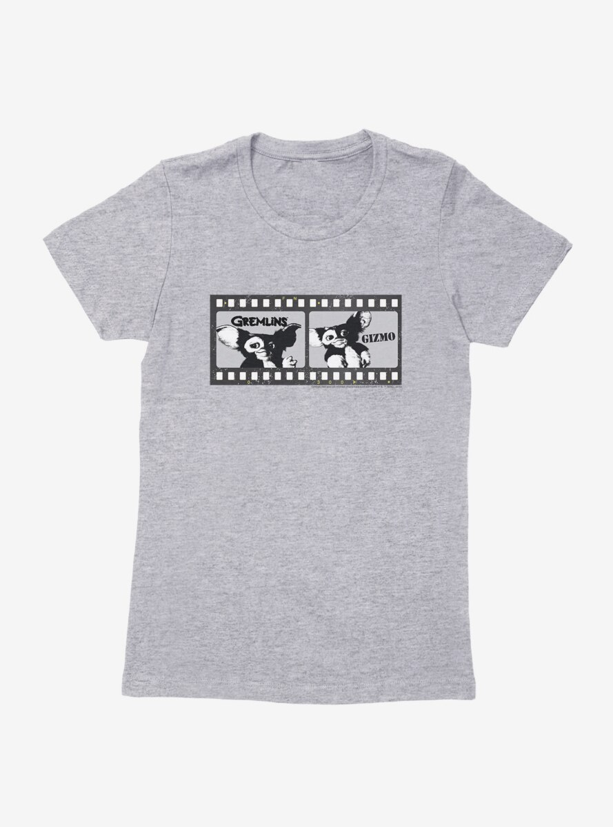 Gremlins Gizmo Film Strip Black And White Womens T-Shirt
