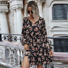 Allover Floral Tie Neck Dress