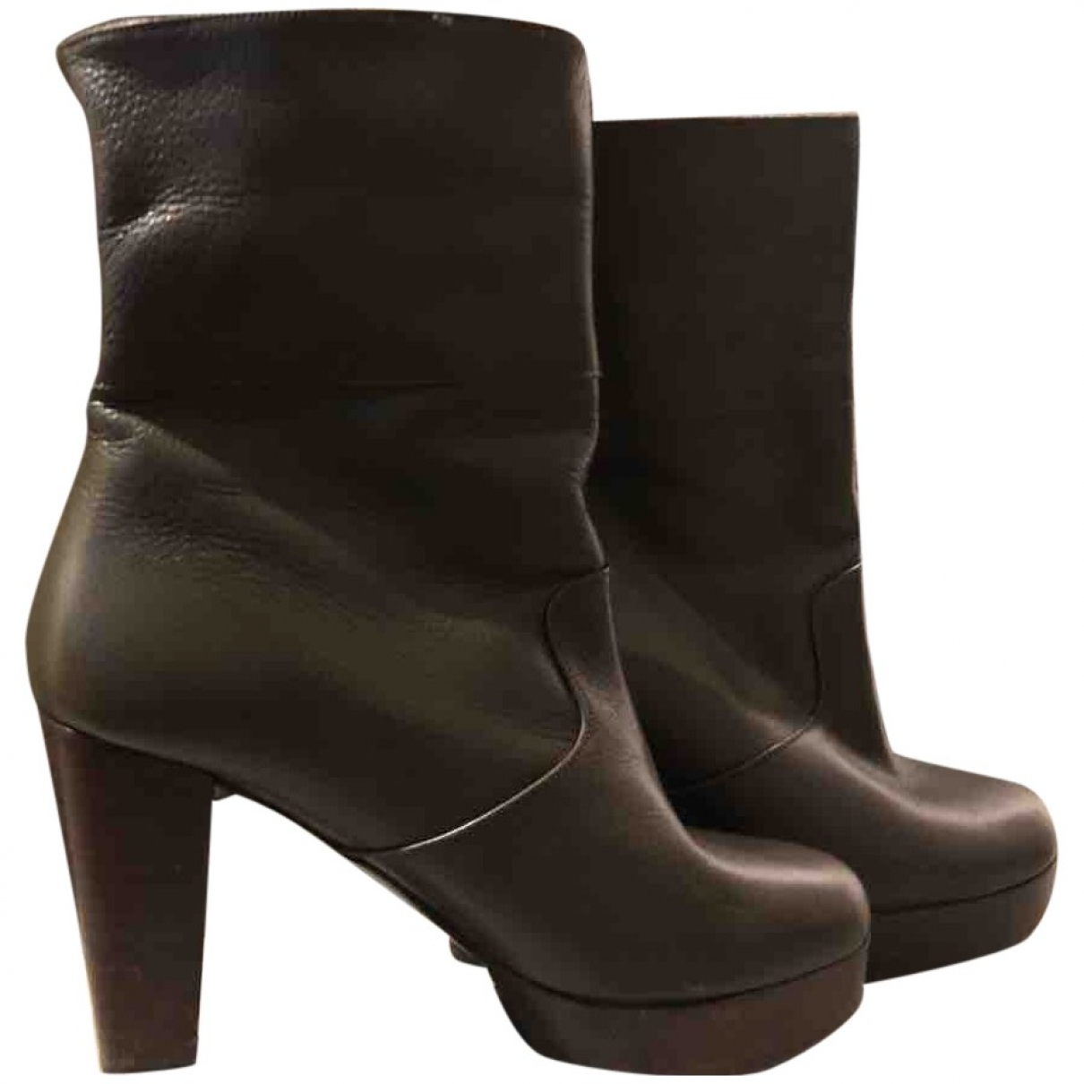 Robert Clergerie \N Khaki Leather Ankle boots for Women 37 EU